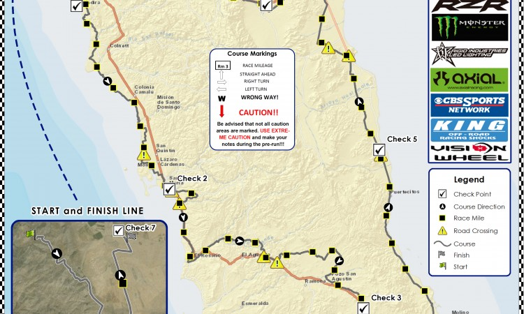 Preliminary Race Course Map Released for 2015 Bud Light SCORE Baja 1000
