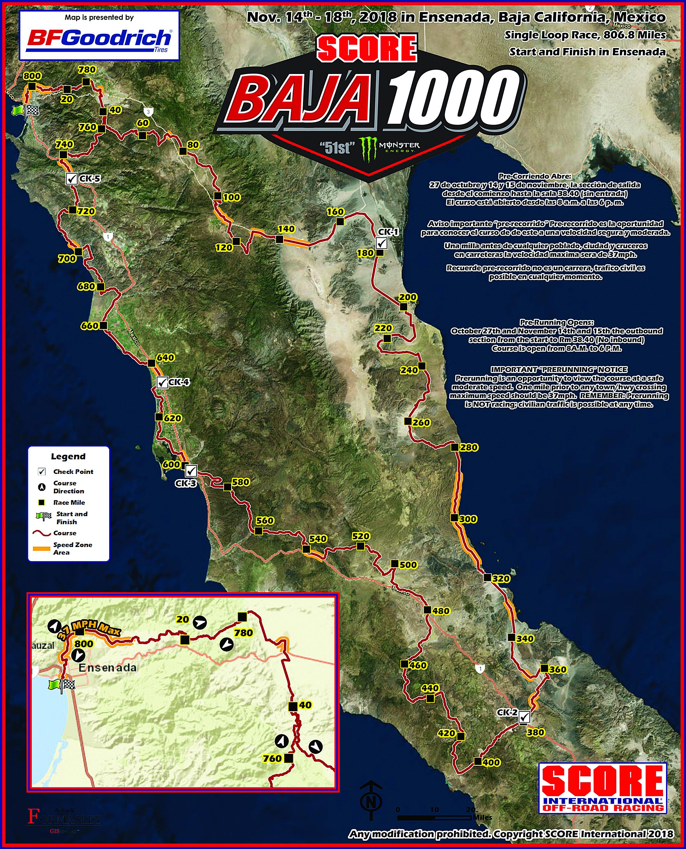 2018 Baja 1000 Course Map
