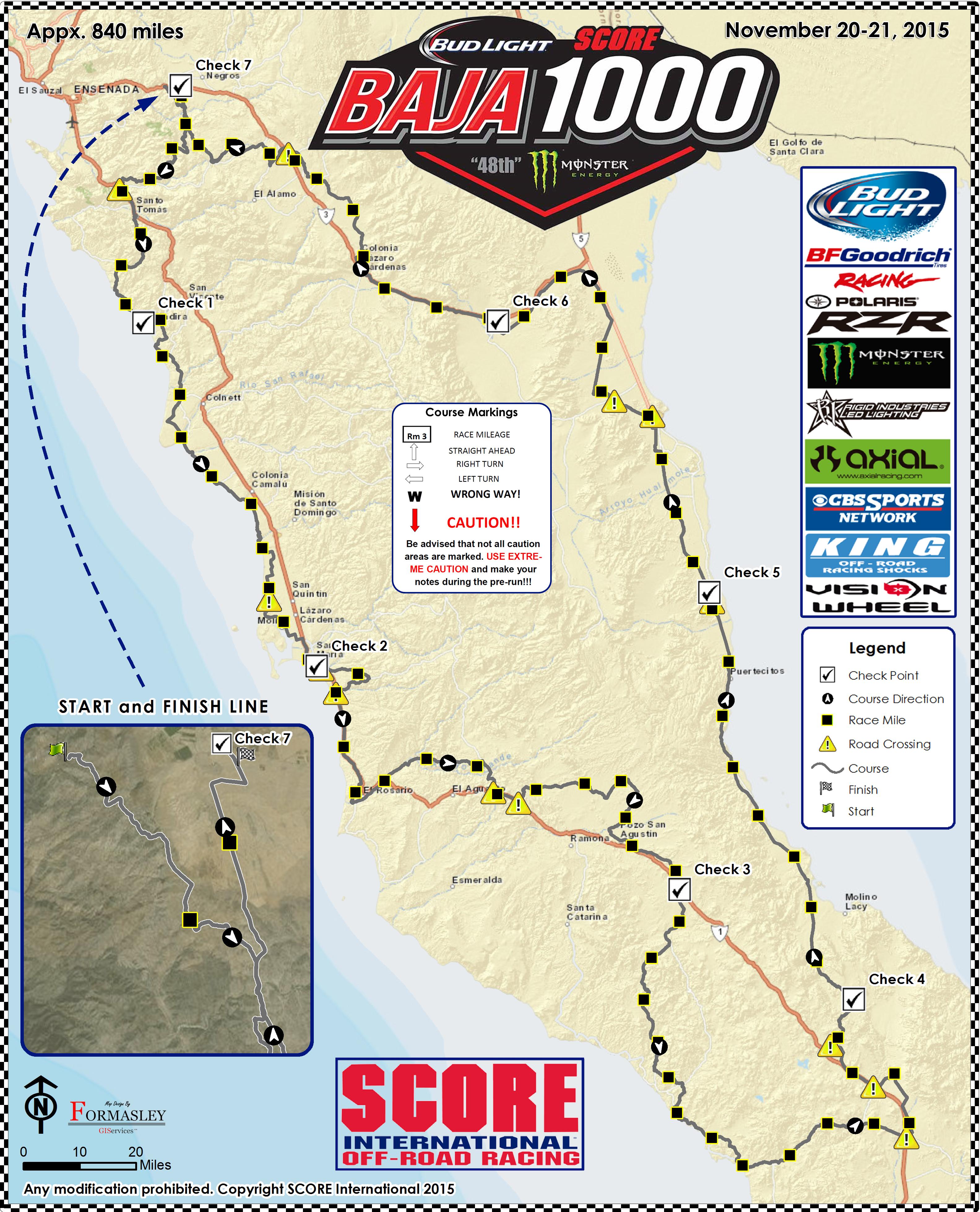 Baja 1000 Map Preliminary Race Course Map Released for 2015 Bud Light SCORE Baja