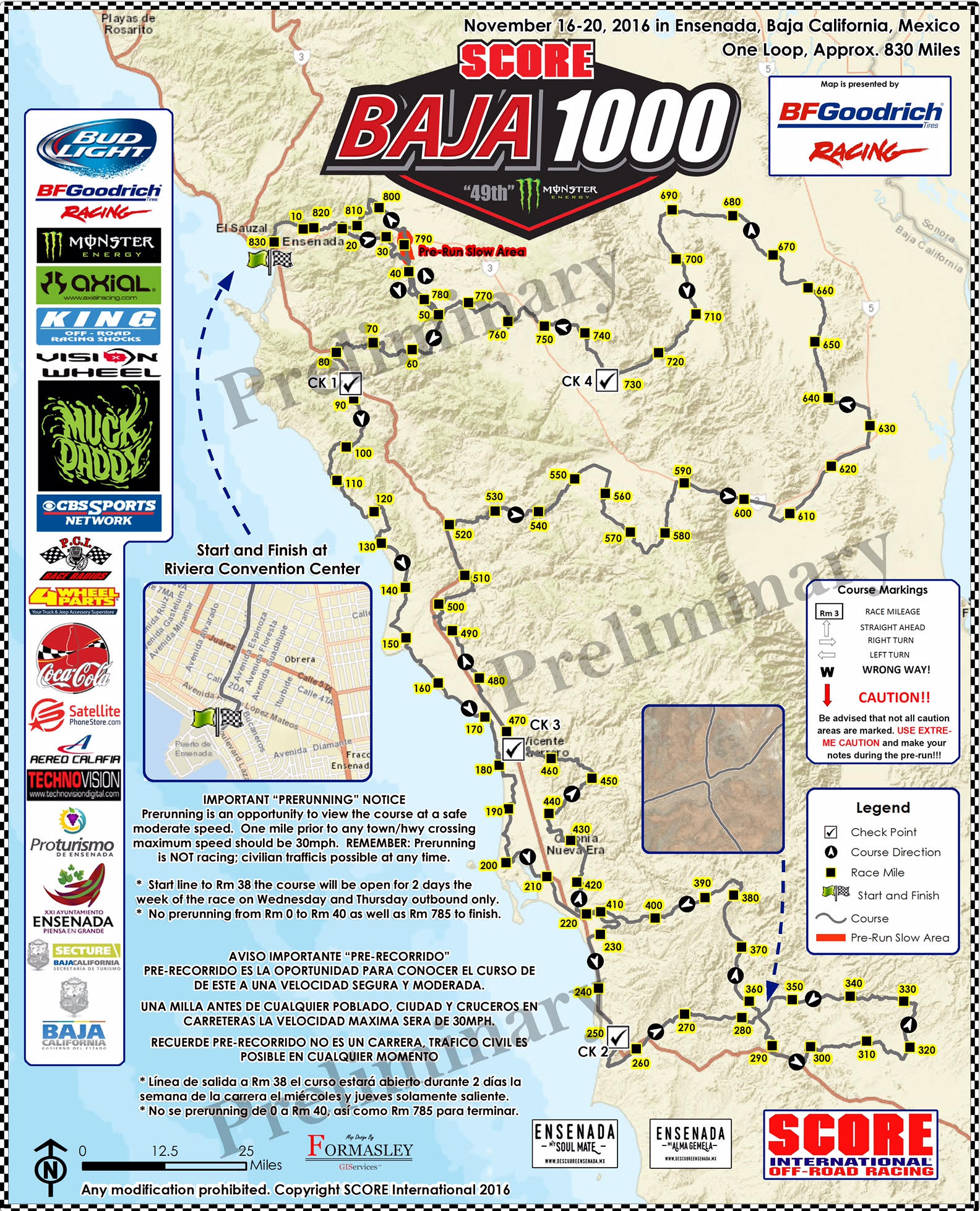 Baja 1000 Map Course map unveiled for 49th annual SCORE Baja 1000 at colorful