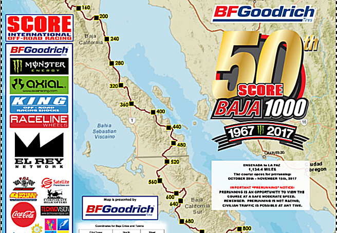 Baja 1000 Map Course map unveiled for 50th BFGoodrich Tires SCORE Baja 1000